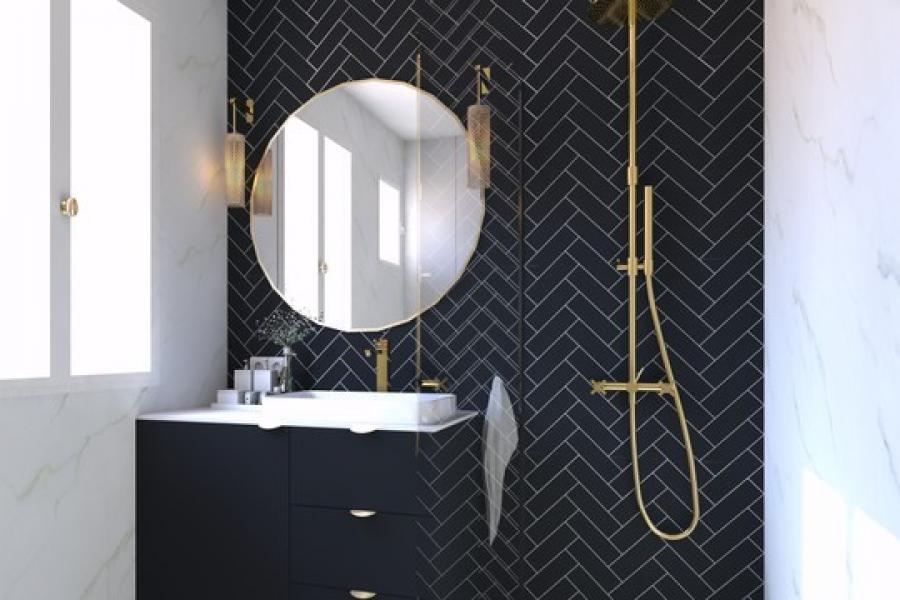 Meuble de salle de bain sur mesure en mélaminé noir mat et panneau acrylique blanc