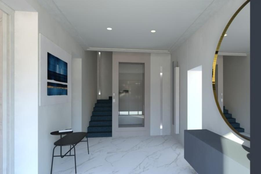Porte invisible avec un décor lumineux encastré